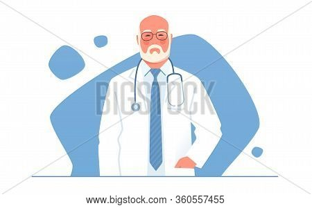 Vector Illustration Of An Older Physician, Doctor, Professor Of Medicine With Stethoscope