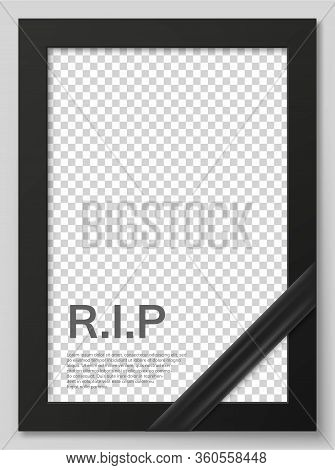 Funeral Ceremony And Condolence Card Layout. Rest In Peace Card. Funeral Photo Frame Mockup With Bla