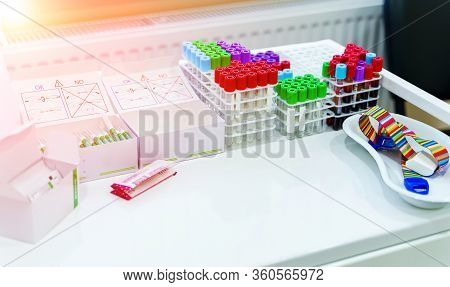 Tubes For Analysis In The Laboratory Of Hematology. Special Equipment For Laboratory. Pneumonia Diag