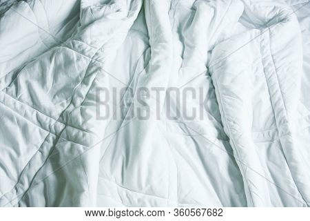 Wrinkle Messy Blanket In Bedroom After Waking Up In The Morning, From Sleeping In A Long Night, Deta