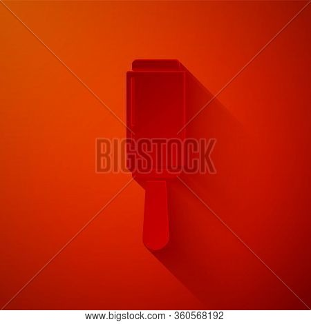 Paper Cut Adhesive Roller For Cleaning Clothes Icon Isolated On Red Background. Getting Rid Of Debri