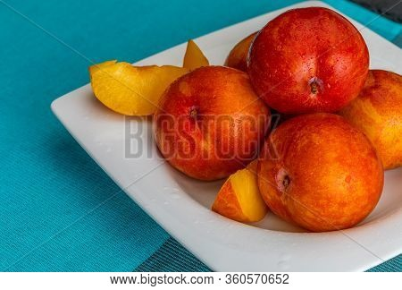 Yellow And Orange Plums (variety Known As Honey Or Mirabelle). Color Yellow, Orange, Orange. Healthy