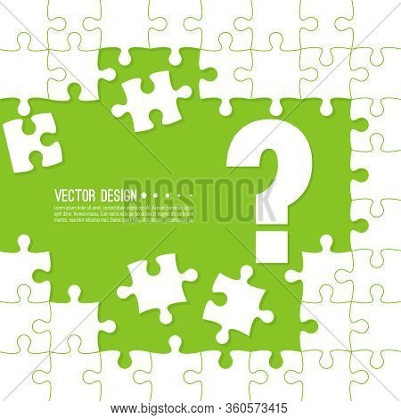 Vector Abstract Background With Unfinished Jigsaw Puzzle Pieces. Question Mark Symbol. Problem Solvi