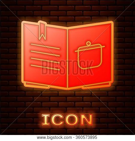 Glowing Neon Cookbook Icon Isolated On Brick Wall Background. Cooking Book Icon. Recipe Book. Fork A