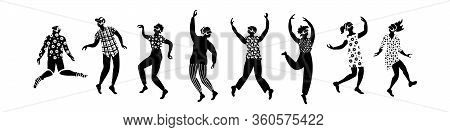 Group Of People With Virtual Reality Glasses. Black Figures On White Background. Flat Vector Illustr