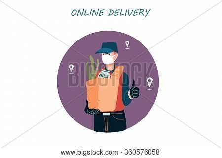 Poster Concept For Home Delivery. Restaurant Or Supermarket Delivering Food At Doorstep In Quarantin