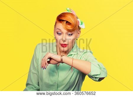 Woman Being Late To Rendez-vous. Closeup Portrait Headshot View Stressed Young Attractive Beautiful