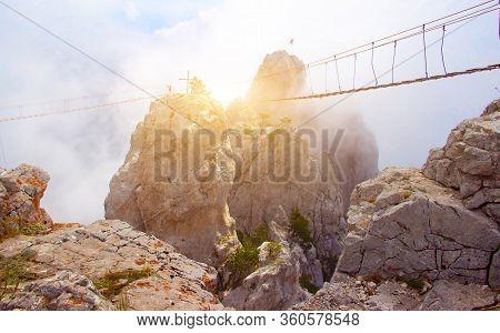 Ai-petri Mountain In The Fog. High Mountain. Crimea. Russian Mountains. Low Clouds. Beautiful Mounta