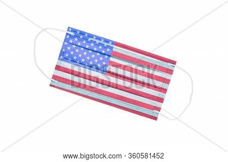 Facial Medical Mask With Usa Flag Isolated On A White Background. Usa Pandemic Concept. Coronavirus
