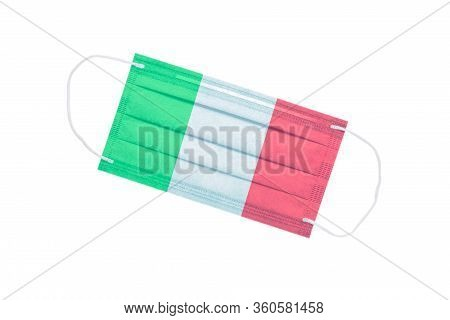 Facial Medical Mask With The Flag Of Italy On The Front Side, Isolated On A White Background. Virus