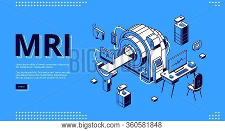 Mri Scanner Without Patient Isometric Vector Landing Page. Empty Room For Magnetic Resonance Imaging