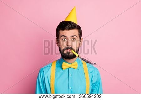 Close-up Portrait Of His He Nice Attractive Funky Cheerful Cheery Comic Bearded Guy Wearing Festal L