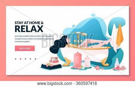 Bathing Time, Stay At Home And Relax Concept. Young Relaxed Woman With Long Hair Takes A Bath With F