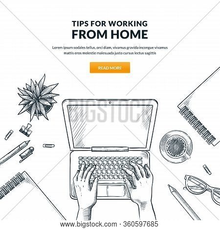 Work At Home, Remote Work, Freelance Online Job Concept. Man Or Woman Working On Laptop. Human Hands