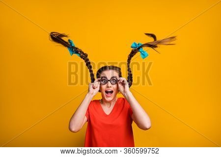 Photo Of Crazy Funny Pretty Lady Student Hold Spectacles Hands Open Mouth Good Eyesight Long Braids