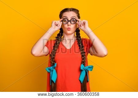 Photo Of Funny Student Lady Diligent Pupil Hold Spectacles Hands Eyesight Correction Long Pigtails R