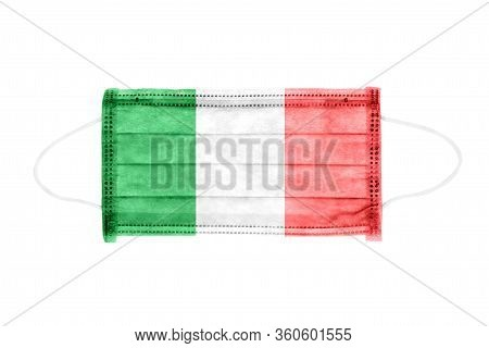 Pp Non-woven Disposable Medical Face Mask Isolated On White Background. Medical Mask Toned In Italy
