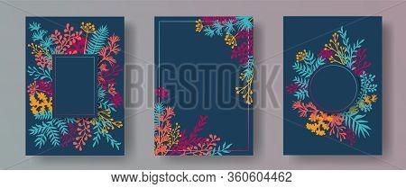Simple Herb Twigs, Tree Branches, Flowers Floral Invitation Cards Set. Bouquet Wreath Retro Cards De