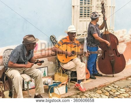 Havana, Cuba - February 14, 2019: Street Musicians In The Old Town In Havana. Cuban Music And Cultur
