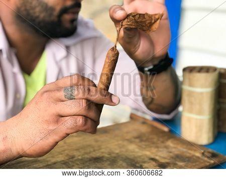 Cuban Man Making Cigar In Cuba