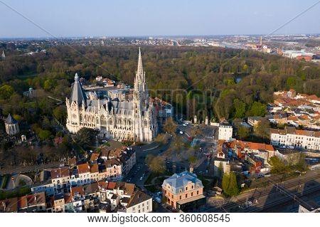 Brussels, Laeken, Belgium, April 8, 2020: aerial view of the Church of Our Lady of Laeken - Église Notre-Dame de Laeken