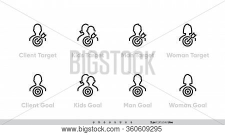 Icon Set Of Client Target Focus Groups, Women, Men, Children And Other Persons. Silhouette With A Ta