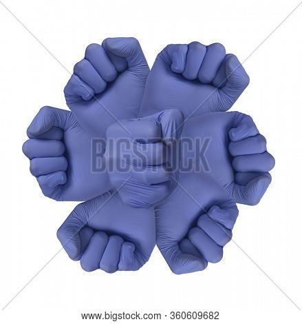 Antibody molecule represented by medic hands to protect against virus and bacteria.
