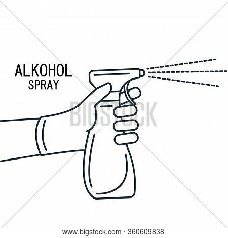 Anti-bacterial Sanitizer Spray. Spray Bottle Icon. Alcohol Spray. Household Chemicals. Infection Con