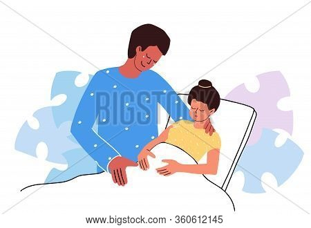 Pregnant Woman In Clinic. Birth Partner. Happy Fashion Family Couple Hugs. Emotional Support. Flat D