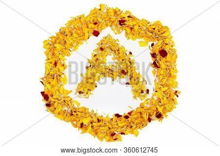 Letter A In Spring Flower Petal Hexagon. Marigold Petal Alphabet Isolated On White Background. Beaut