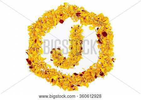 Letter J In Spring Flower Petal Hexagon. Marigold Petal Alphabet Isolated On White Background.