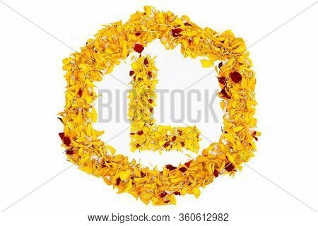 Letter L In Spring Flower Petal Hexagon. Marigold Petal Alphabet Isolated On White Background. Beaut