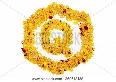 Letter Q In Spring Flower Petal Hexagon. Marigold Petal Alphabet Isolated On White Background.