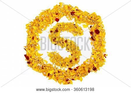 Letter S In Spring Flower Petal Hexagon. Marigold Petal Alphabet Isolated On White Background.