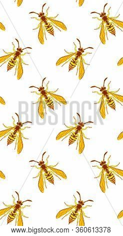 Wasp Insect Vertical Seamless Wallpaper. Dangerous Yellow Bugs Cover On White Backdrop. Vector Bumbl