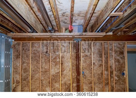 Interior Wall Insulation Of Basement With Fiberglass Of House With Insulation Material