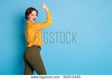 Profile Photo Of Pretty Lady Hold Raise Biceps Hand Arm Show Perfect Biceps Gym Training Strong Powe