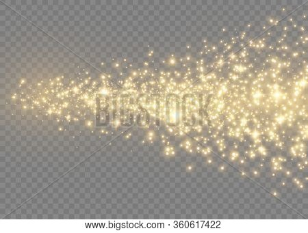 Sparkling Magic Dust Particles.yellow Dust Yellow Sparks And Golden Stars Shine With Special Light.c
