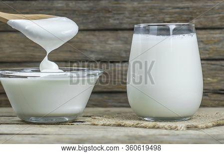 Glass Cup Of Turkish Traditional Drink Ayran , Kefir Or Buttermilk Made From Yogurt, Homemade Yoghur