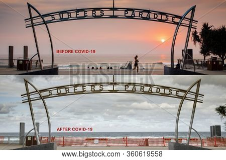 Surfers Paradise Before After Covid-19 Beach Closure Concept. Coronavirus Lockdowns For Surfers Para