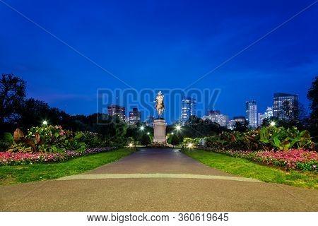 A Night View Of The Boston Public Garden