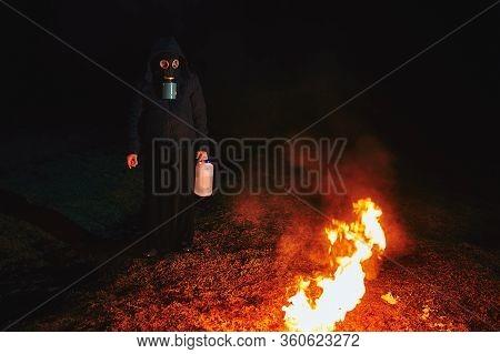 Free Man On Fire. Night Photo Shoot.
