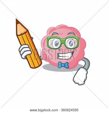 A Brainy Student Anaplasma Phagocytophilum Cartoon Character With Pencil And Glasses