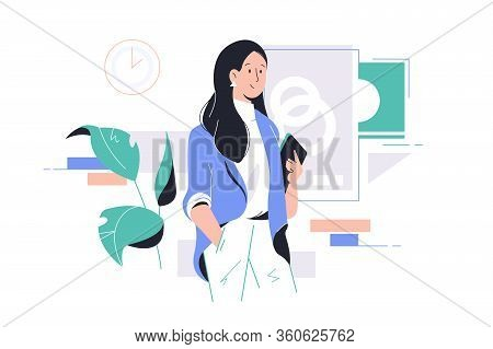 Young Happy Attractive Businesswoman Holding Tablet At Work In Office. Concept Smiling Woman Charact