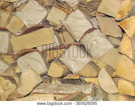 Krakovets, Ukraine - February, 2015: Smuggled Cigarettes Disguised As Firewood That Was Found In The