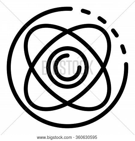 Atom In A Circle Icon. Outline Atom In A Circle Vector Icon For Web Design Isolated On White Backgro