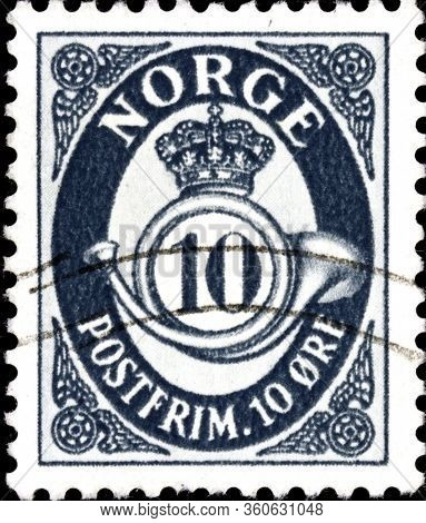02 09 2020 Divnoe Stavropol Territory Russia Postage Stamp Norway 1921-1922 Posthorn Postage Stamp I