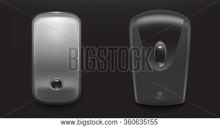 Soap Wall Dispenser For Wash Hand With Antibacterial Liquid Gel Or Alcohol Sanitizer. Vector Realist