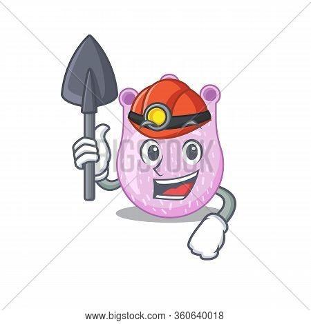 Viridans Streptococci Miner Cartoon Design Concept With Tool And Helmet