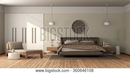 Modern Master Bedroom With Leather Double Bed,daybed And Built-in Wardrobe - 3d Rendering